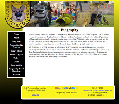 image: K-9 Protection Services website